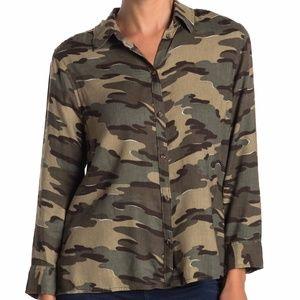 Susina Button Hem Printed Long Sleeve Shirt